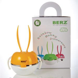 Berz Bunny Full PP ชุดทานอาหารกระต่ายแบบพลาสติก เวฟได้ (สีส้ม)